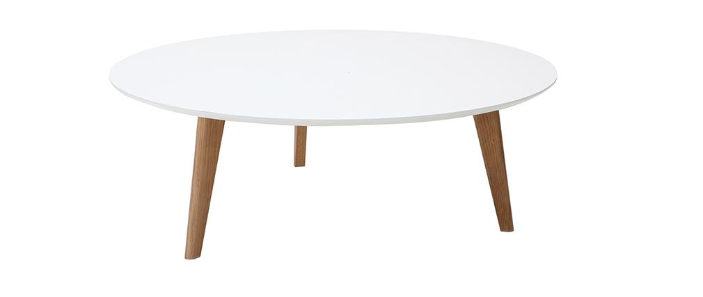 Table basse ronde blanche L100 cm EKKA