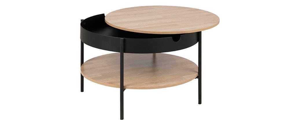 Table basse ronde bois et métal noir D75 SUZIE