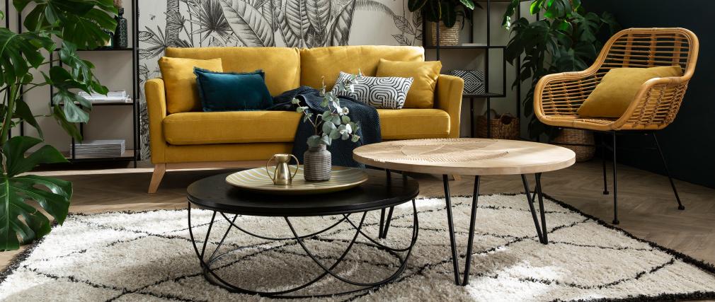 Table basse ronde bois et métal noir D80 x H30 cm LACE