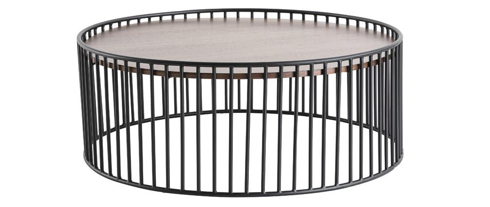 Table basse ronde design bois foncé et métal D93 x H35 cm HARP