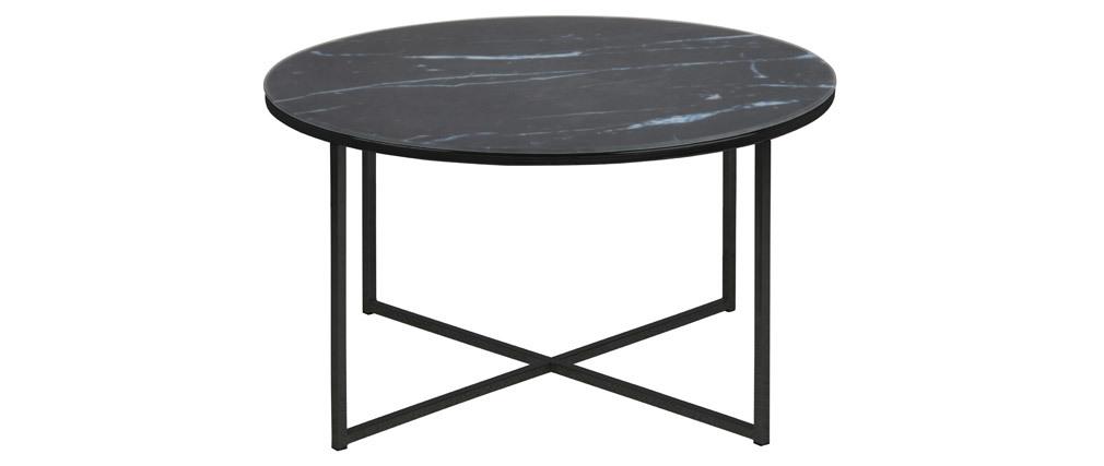 Table basse ronde effet marbre noir bleuté D80 cm ALCINO