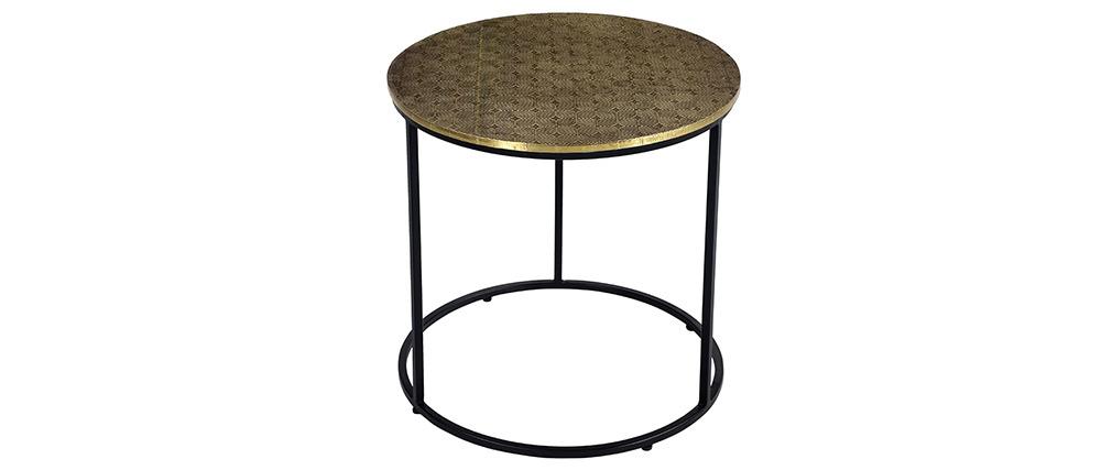 Table basse ronde en laiton frappé L45 cm FLOOR