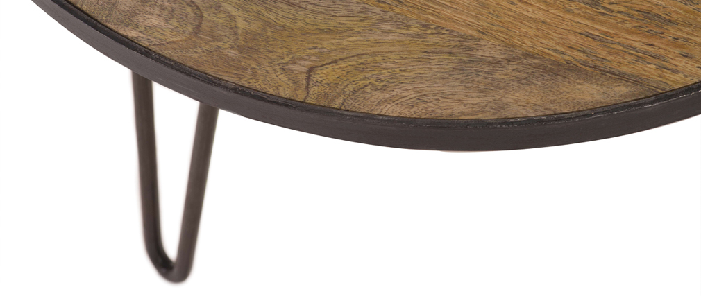 Table basse ronde en manguier massif L80 x H45 cm ATELIER