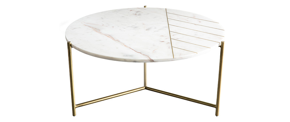 Table basse ronde en marbre blanc SILLON