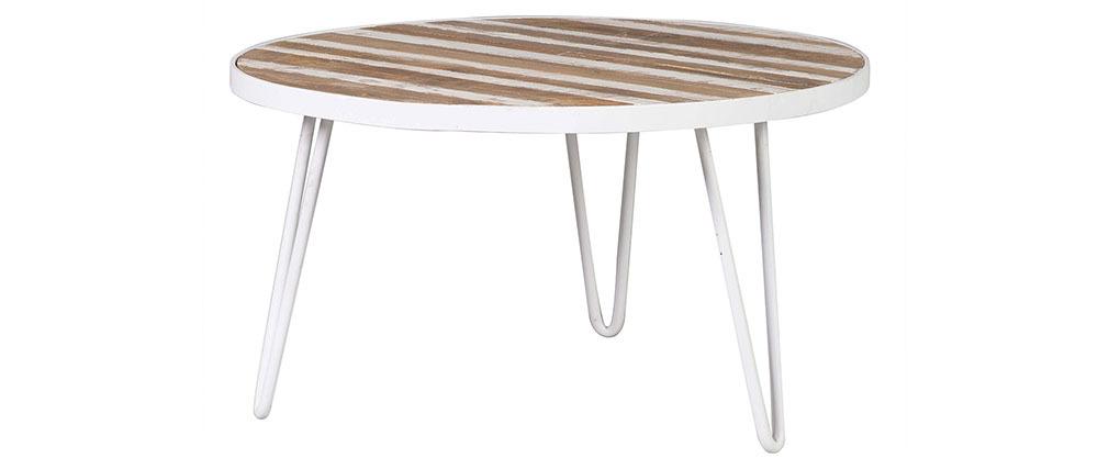 Table basse ronde manguier massif et métal blanc L80 x H45 cm ROCHELLE