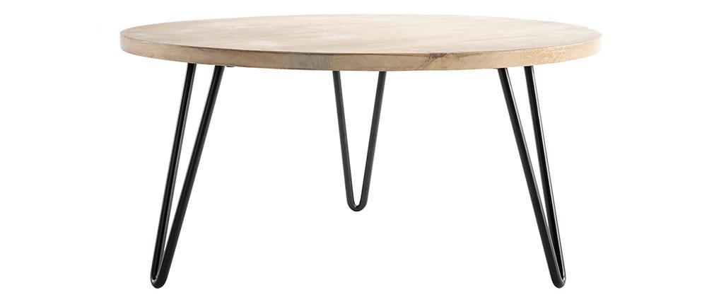 Table basse ronde manguier massif et métal L80 x H40 cm VIBES