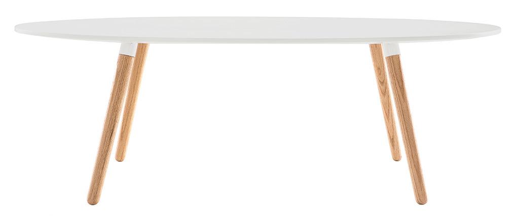 Table basse scandinave blanc et bois clair GILDA