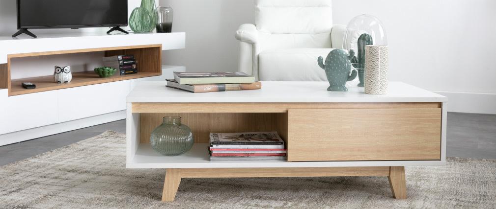 Table basse scandinave blanc et bois LAHTI