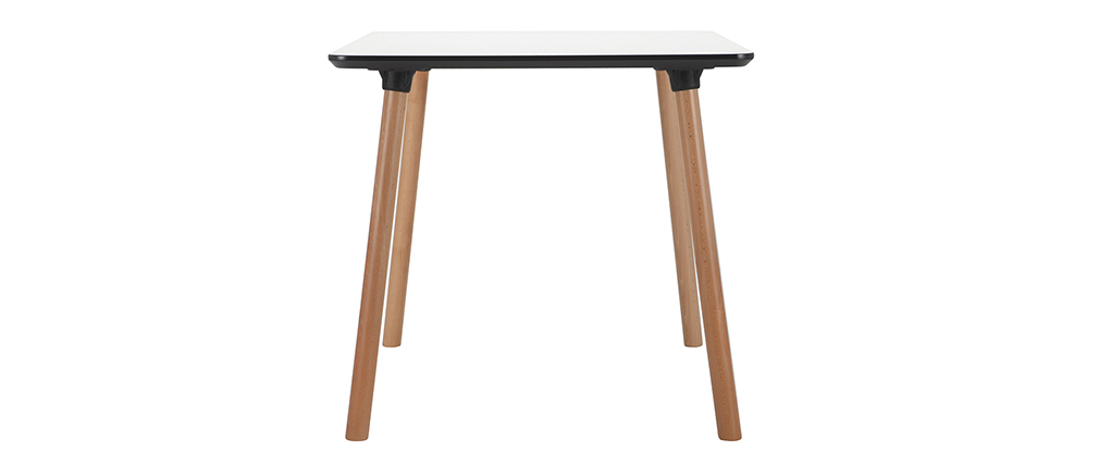 Table carrée design blanche avec pied en bois 80 cm BRUNCH