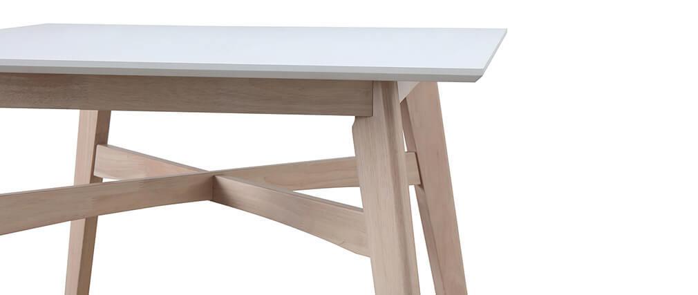 Table de bar carrée bois et blanc LEENA