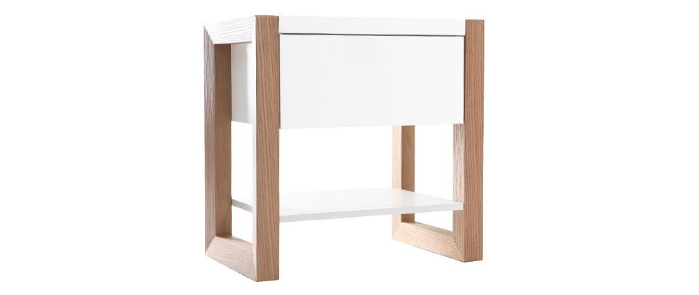 Table de chevet blanc et chêne ARMEL