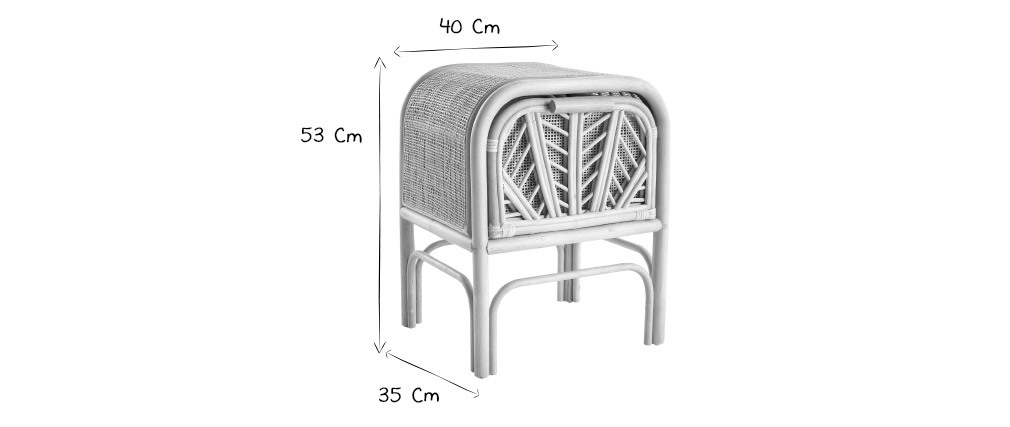 Table de chevet en rotin GALON - Miliboo & Stéphane Plaza