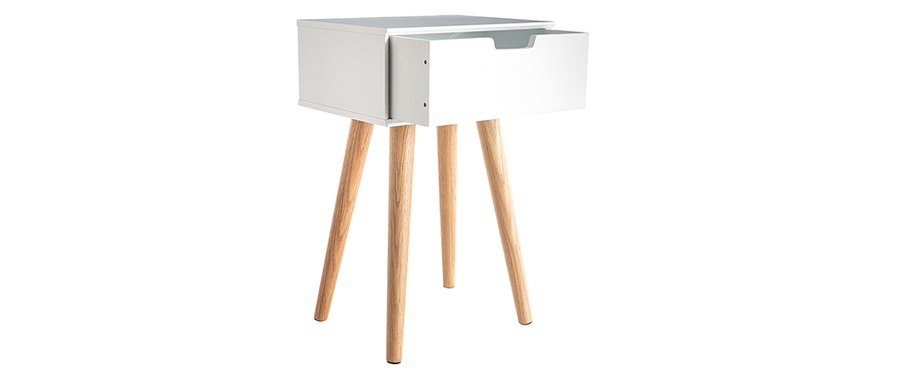 Table de chevet scandinave bois et blanc SNOOP