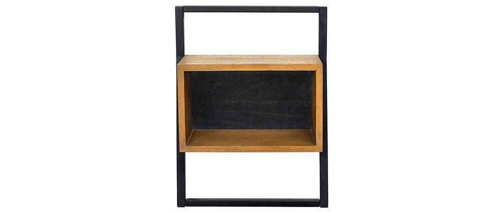Table de chevet vintage bois et métal noir SERAH