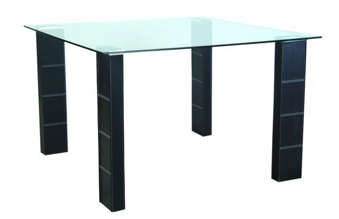 Table de cuisine salle manger abby carr e en pvc et - Plateau de table en verre trempe ...