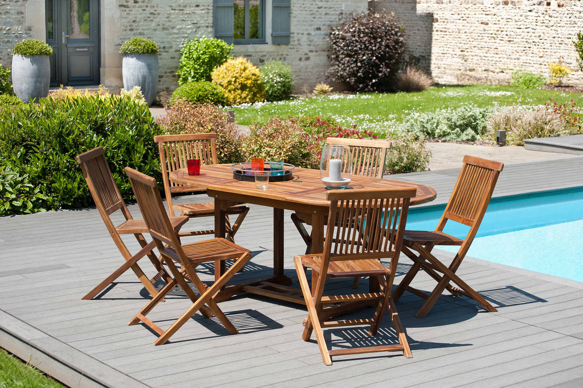 Petite Table De Jardin Metallique : Table de jardin ovale en teck extensible 120180 BORNEO ( Ce produit n