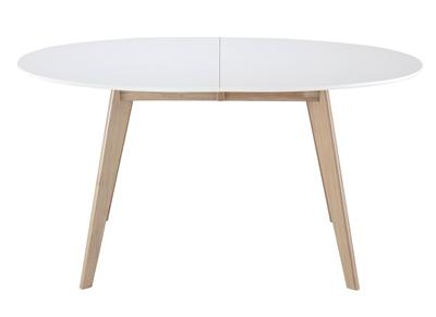 Table extensible ovale blanche et bois clair LEENA