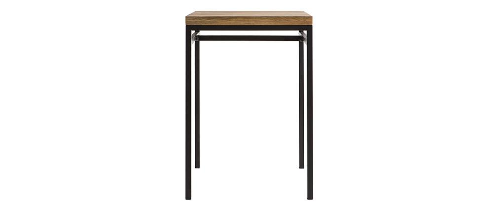 Table haute carrée en manguier massif et métal noir YPSTER