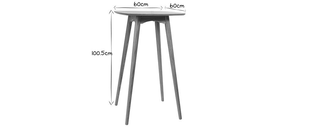 Table haute carrée frêne naturel BALTIK