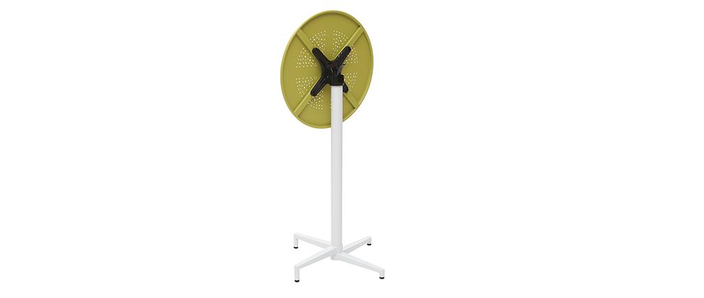 Table haute pliante ronde en métal vert anis DOTS