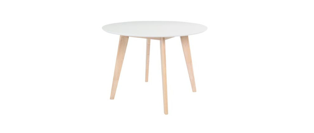 Table ronde blanc et bois D100 LEENA