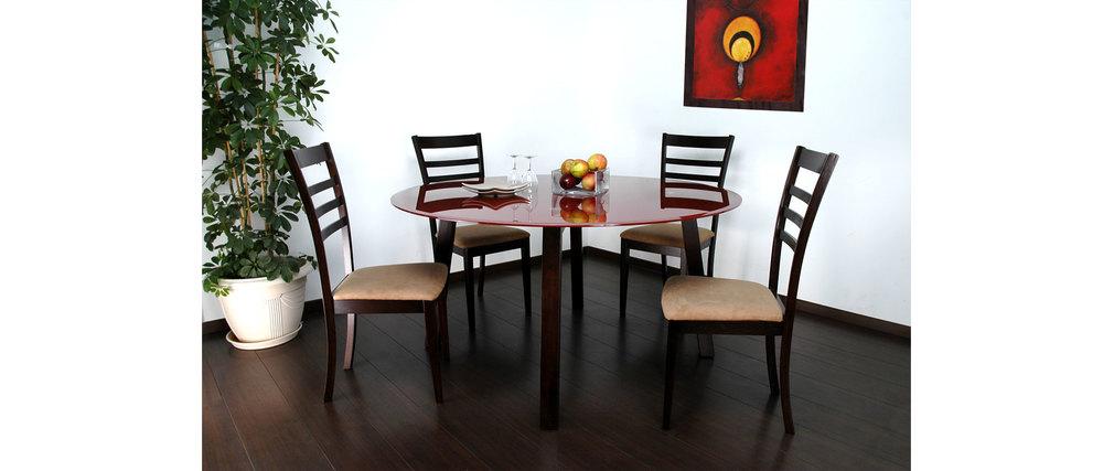 table dalton light cappuccino plateau en verre rouge