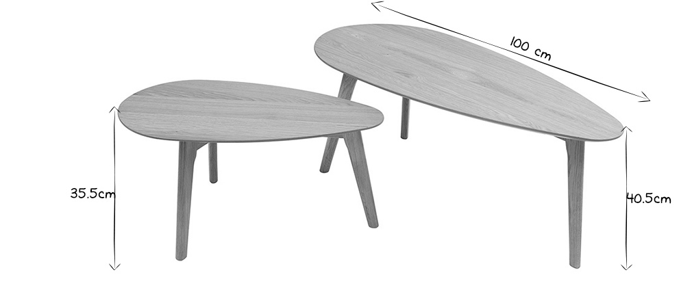 Tables basses chêne (lot de 2) ARTIK