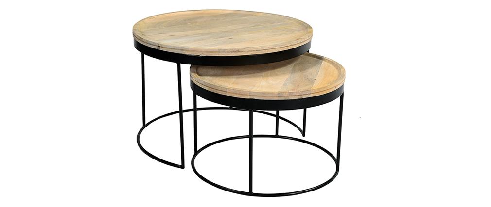 Tables basses gigognes manguier massif et métal LEDGE