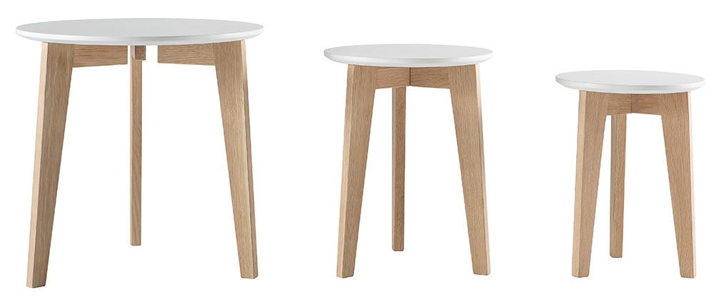 Tables gigognes design laquées mat et bois naturel (lot de 3) LARGO
