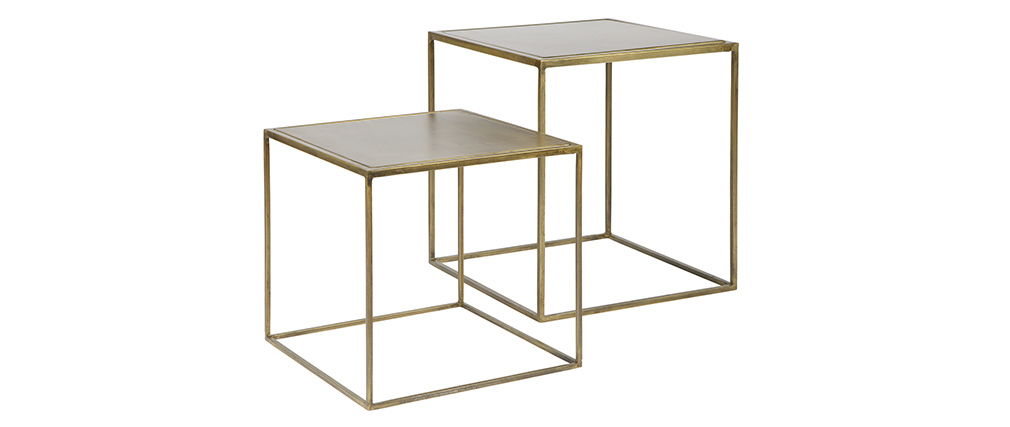 Tables gigognes design métal laiton (lot de 2) ERINE