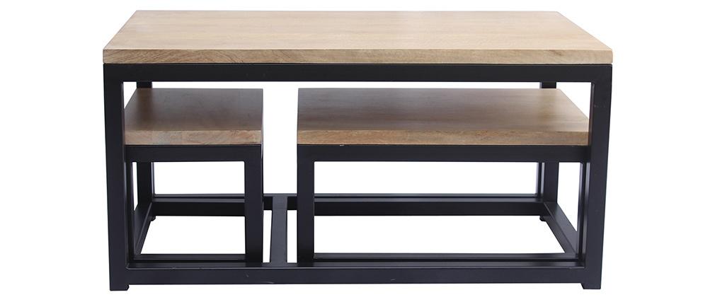 Tables gigognes en manguier massif et métal noir (lot de 3) FACTORY