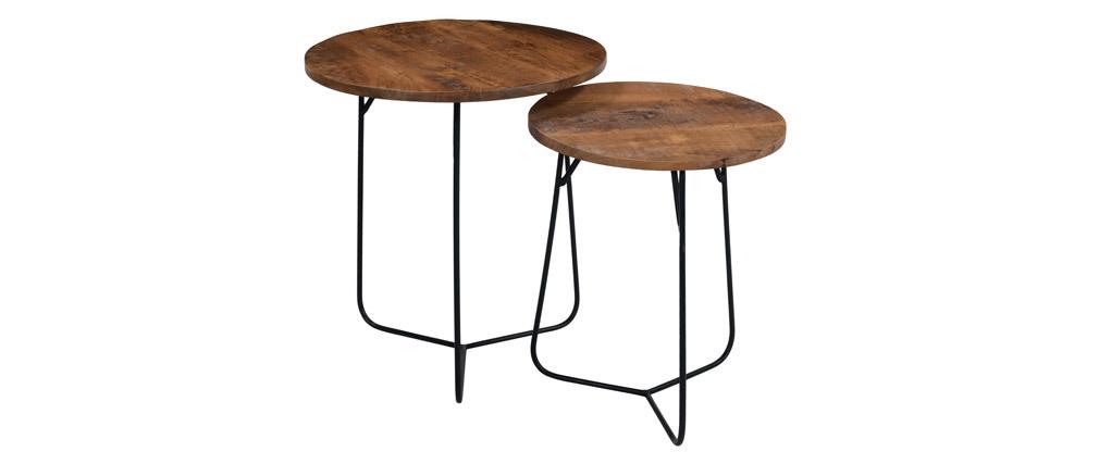Tables gigognes rondes en acacia massif et métal AQUILA
