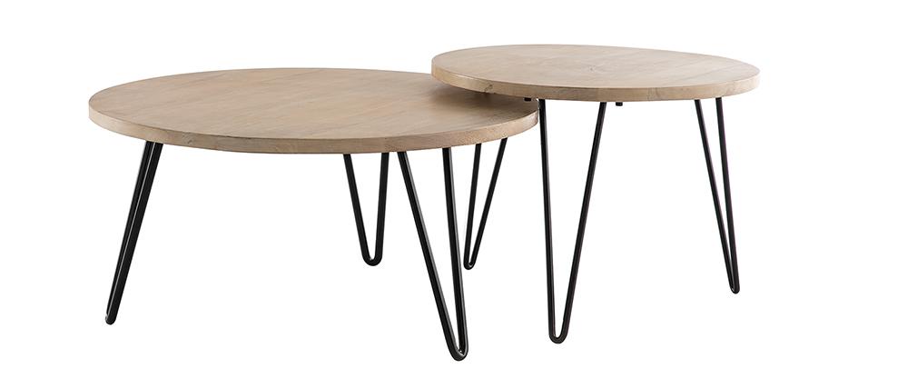Tables gigognes rondes en manguier massif et métal (lot de 2) VIBES