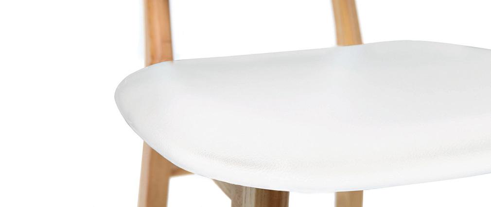 Tabouret / chaise de bar design blanc et bois naturel NORDECO
