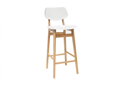 Tabouret / chaise de bar design blanc et bois naturel NORDECO