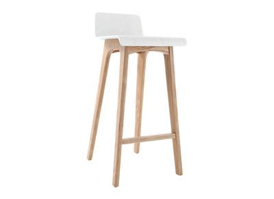 Tabouret / chaise de bar design bois naturel et blanc scandinave H75cm BALTIK