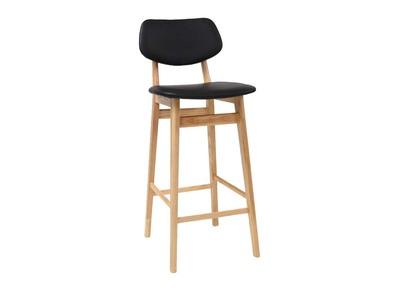 Tabouret / chaise de bar design noire et bois naturel NORDECO