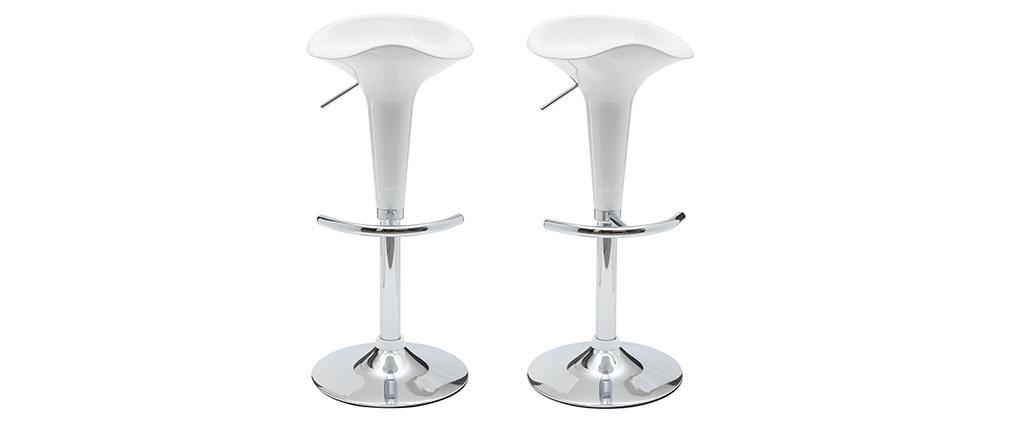 Tabouret de bar / cuisine blanc design GALAXY (lot de 2)