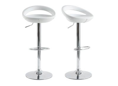 Tabouret de bar / cuisine blanc moderne PVC COMET (lot de 2)