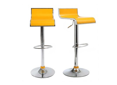 Tabouret de bar / cuisine jaunes design WAVES (lot de 2)