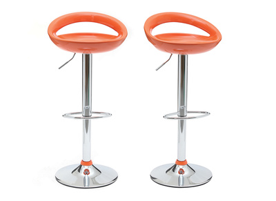 Tabouret de bar / cuisine moderne orange COMET (lot de 2)