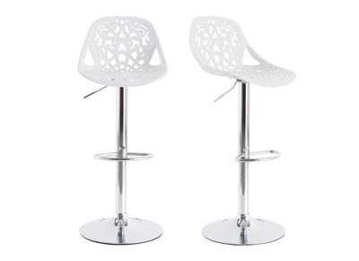 Tabouret de bar design baroque blanc lot de 2 BAROCCA