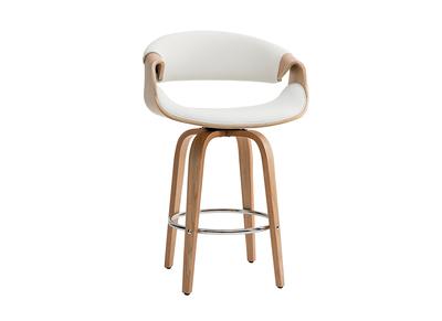 Nouveaux produits a7166 966bf Tabouret de bar design blanc et bois clair 65 cm ARAMIS