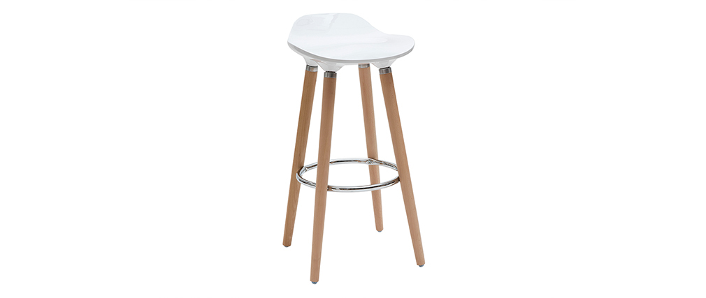 Tabouret de bar design blanc scandinave lot de 2 GILDA