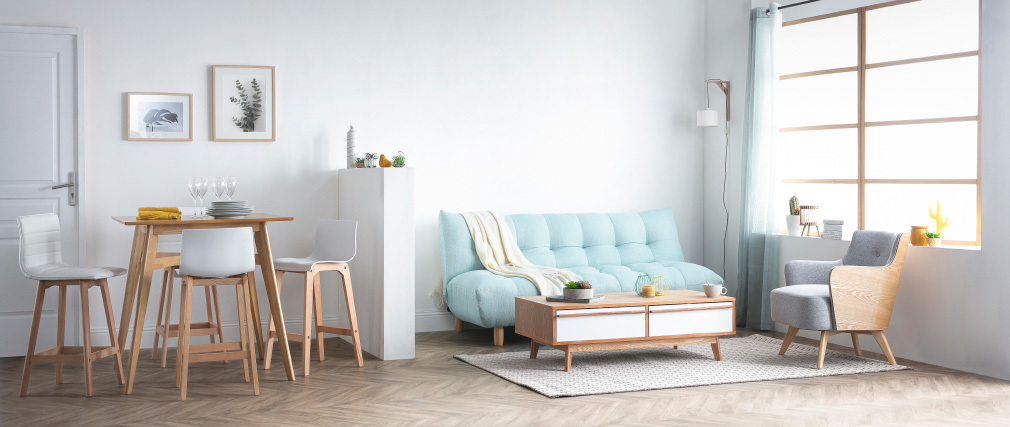 Tabouret de bar design bois et blanc 65 cm (lot de 2) EMMA