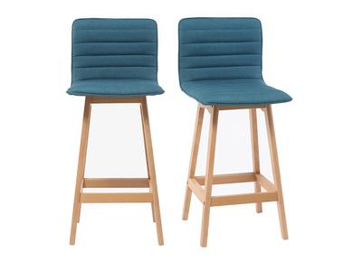Tabouret de bar design bois et bleu canard 65cm lot de 2 EMMA