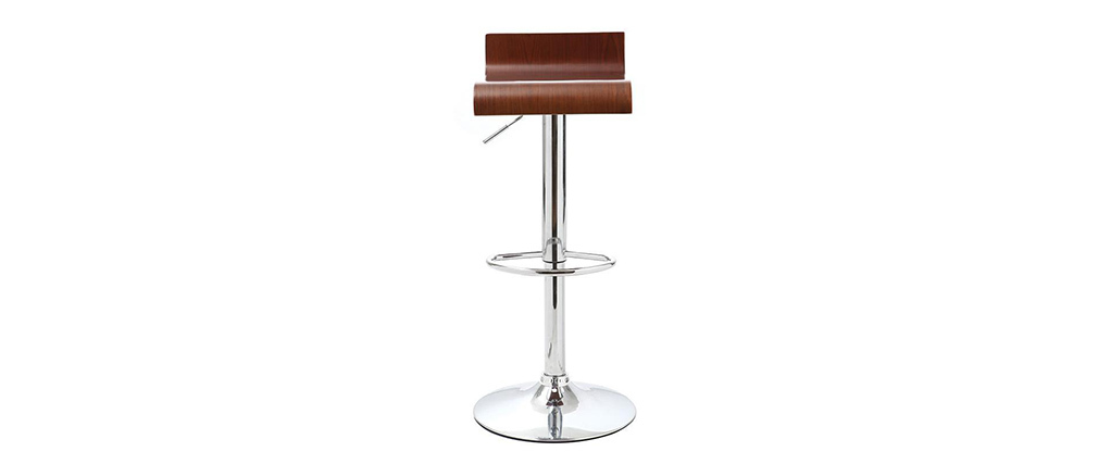 Tabouret de bar design en bois coloris noyer SURF V2