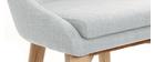 Tabouret de bar design en tissu gris et bois clair 65 cm DALIA