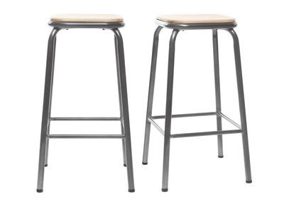 Tabouret de bar design inox et bois clair H65cm lot de 2 MEMPHIS
