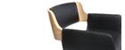 Tabouret de bar design polyuréthane noir et bois clair RAY